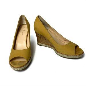 Cole Haan Weave Peep Toe Wedge Heels Yellow Sz 9